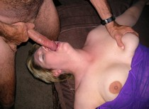 Middle-aged plump woman getting fucked in her mouth