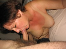 Adorable mature lady sucking her husband