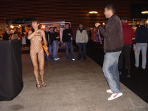 Daring exhibitionist looked at and touched intimately by strangers