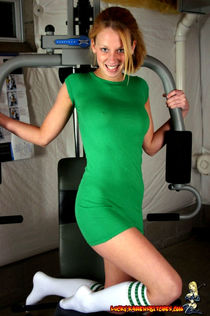 Teen solo girl models non nude in a tight dress and sport socks at the gym