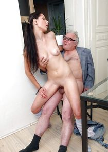 Young girl and ugly old man, pornographic images.