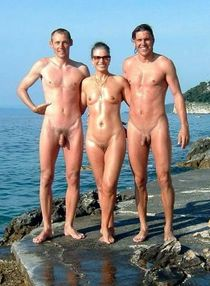 Groups of nudists in the woods and on greece beaches