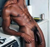 Naked black man, a giant black penis photo, close up