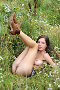 Adorable Ukrainian babe Malena nude in nature