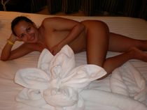 Cheerful beautiful european wife stripping for husband, giving him great blowjob and..