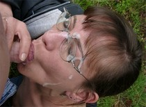 Another great photo of mature german wife doing a blowjob and getting facial outdoors
