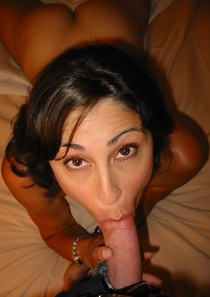 Amazing amateur deepthroat picture with a sexy latina brunette.