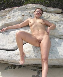 Wifey posing naked on the beach