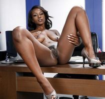 Leggy ebony model Jezabel Vessir undressing sexy