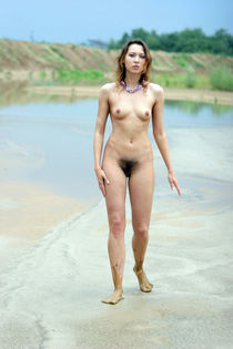 Nude in Russia untidy girl with hairy pussy on the beach