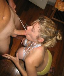 Lisa enjoying homemade bondage sex and doing awesome blowjobs for 3 different guys at..