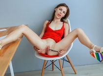 Young starlet Sofi Shane nude at office, shaved young pussy, solo set