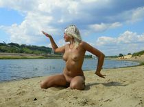Beautiful and charming blonde woman going wild with various men at home and outdoors at..