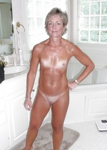 Older petite blonde married wife with tan lines and tight bald pussy amateur.