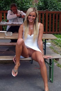 Blonde Wife No Panties Pussy Upskirt In Public