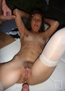 Wife drenched in cum on her first threesome.