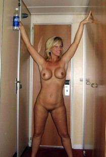 Amazing sexy handsome blonde milf showing her wet shave pussy and big hot boobs