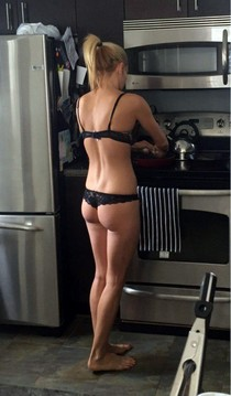 Skinny blonde has amazing great boobs booty and so sexy ass in hot thong