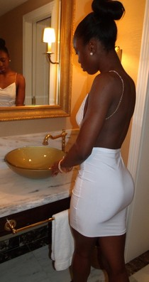 Ebony handsome girl in hot white tight dress have amazing big black ass and lovely small..