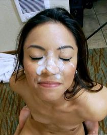 Cute spanish asian big facial cum load.