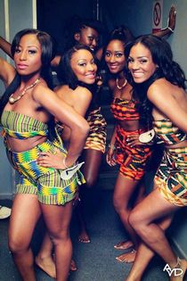 African Girls rocking some Kente fabric!