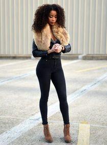 Beautiful black whore in fitting leggings