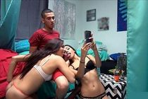 Hot bj threesome photo with superb teen (18+) college.