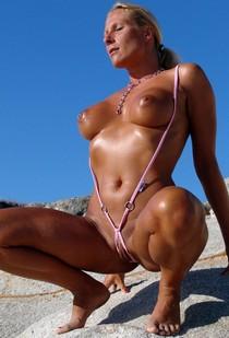 Mini micro bikini mature pussy.
