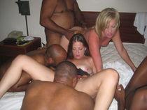 Slut sisters pleasuring black bulls in raunchy orgy upskirtp