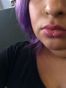 Violet hair. Inverse vertical labret. Ashley piercing. Nose