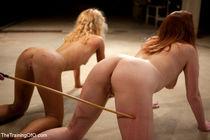 Nicki Blue bound and spanked before pornstar bdsm girls grou