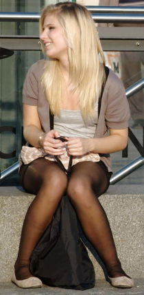 More candids in flat ballet shoes and pantyhose - Pics -