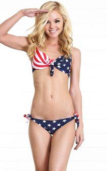 Bow Knot American Flag Bikini WHITE Make Me Stars & Stripes