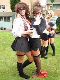 schoolgirl leavers (wearing tight black school skirts) - Fre