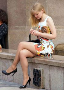 Super Hot Candid Blonde Wearing Pantyhose and High Heels Sit