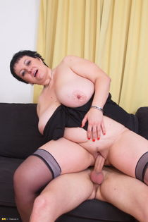 BBW with bg tits fooling around with her toy boy