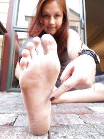 18yr old German Tourist Bare Feet - Nylon Feet - Oiled Feet