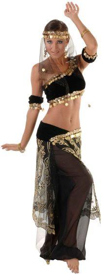 Deluxe Black Diamond Belly Dancer Costume - Sexy Costumes Fa