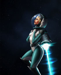 ArtStation - Retro Space Girl, Miha Brumec