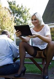 Blonde MILF Hairy Pussy No Panties Upskirt