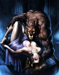 Big cartoon werewolf with unconscious girl by Chaos-Draco