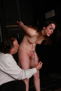Metal clamped and extreme breast whipping to tears of crying