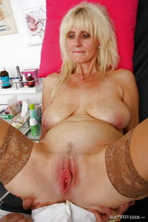 Aged blonde Mia and her saggy granny tits undergo kinky doct