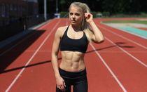 2560x1600 Blonde, Blonde Abs Fitness Girl Running Track, Bea