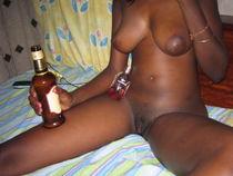 Ebony hot ex girlfriend babe sucking bottle of beer. (4) -E