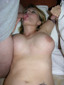 Huge boobs and hot blowjobs for two cocks, private amateur porn picture