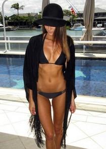 Skinny brunette in hot bikini has so nasty boobs and hot great booty