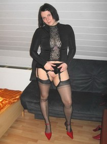 Black stockings and no panties :) Watch my own amateur homemade porn here
