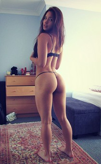 Amazing brunette in amazing beginners g-string pic.