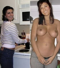 Hot mature in a kitchen